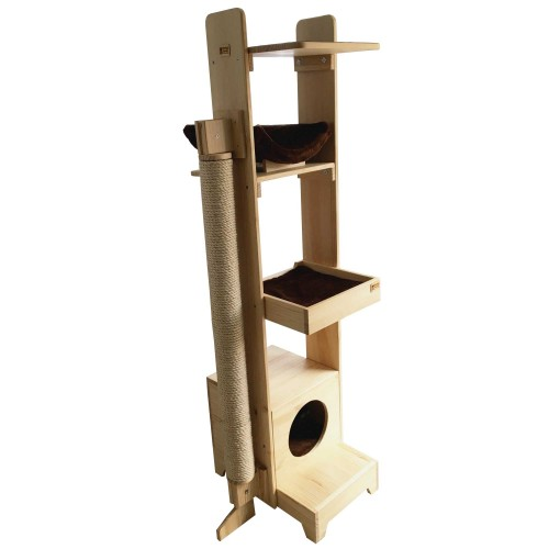 Gimnasio móvil 5 niveles con rascador lateral cabuya