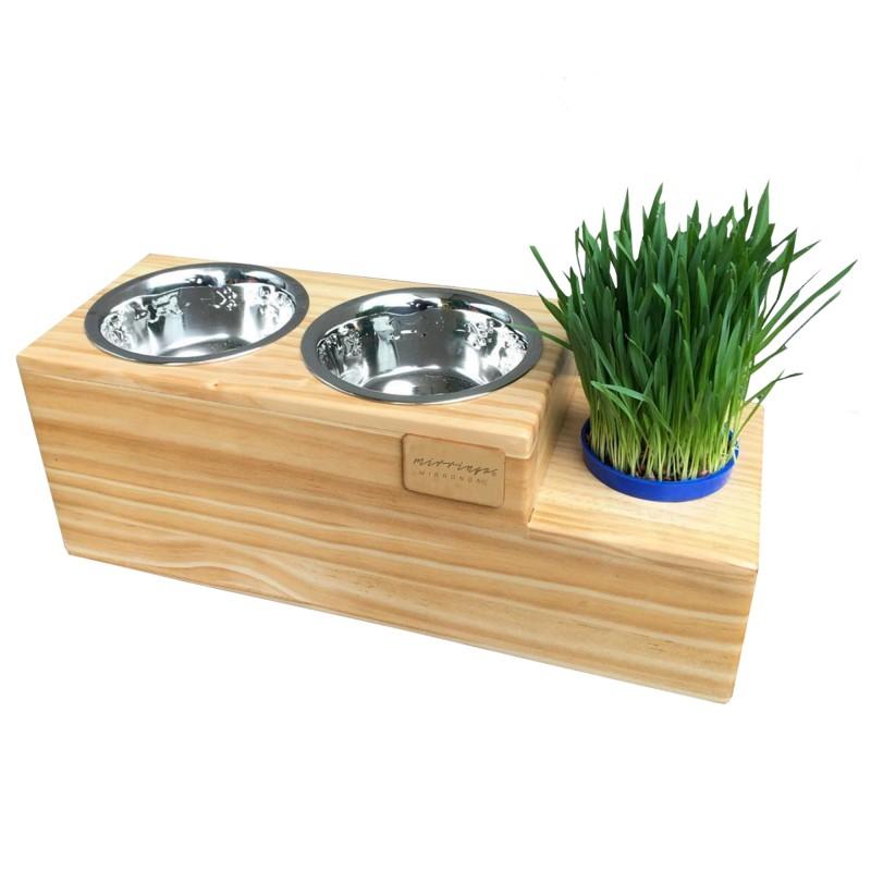 Comedero piso con pasto
